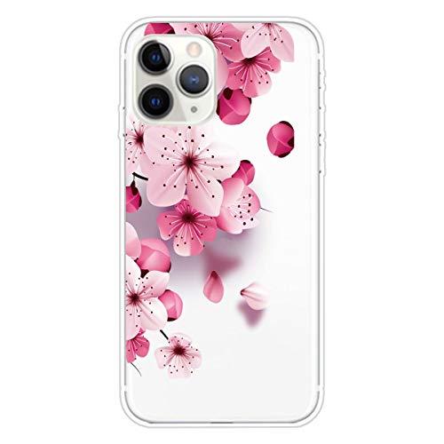 Miagon Transparent Hülle für iPhone 12 Pro,Kirsche BlumeMuster Kreativ Süße Durchsichtig Klar Soft Ultra Dünn Silikon Case Cover Schutzabdeckung