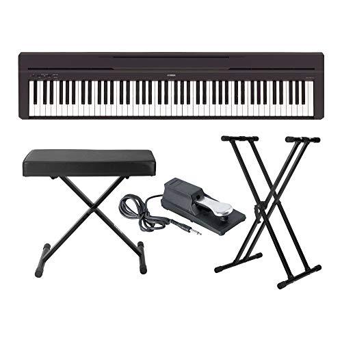 Yamaha P45B piano digital de 88 teclas con soporte para teclado Knox Gear, banco ajustable y pedal de sostenimiento
