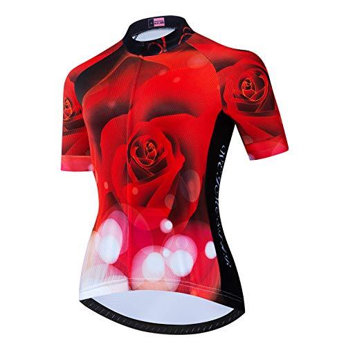 Weimostar Damen Radtrikot Bike Outdoor Sport Racing Fahrradbekleidung Brilliant Red Rose XXXL