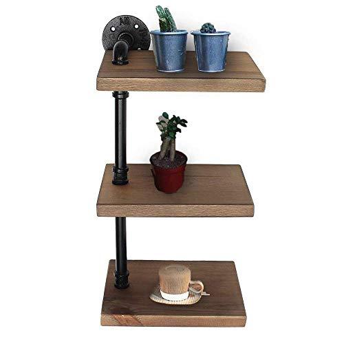 RBH Industrielles Bücherregal mit Pfeifenregal, 3-lagiges, antikes, modernes Leiterregal aus Holz, Wand-Bücherregal aus Metall im urbanen Stil, ideal für das Büro zu Hause