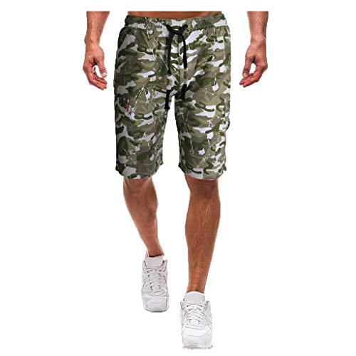 Shorts for Men, F_Gotal Men's Casual Camouflage Drawstring Elastic Waist Multi-Pockets Sports Pants Shorts Sweatpants