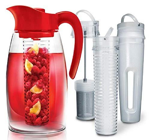 Primula Beverage System – Includes Fruit, Tea Infusion Chill Core, 2.9 quart, Red