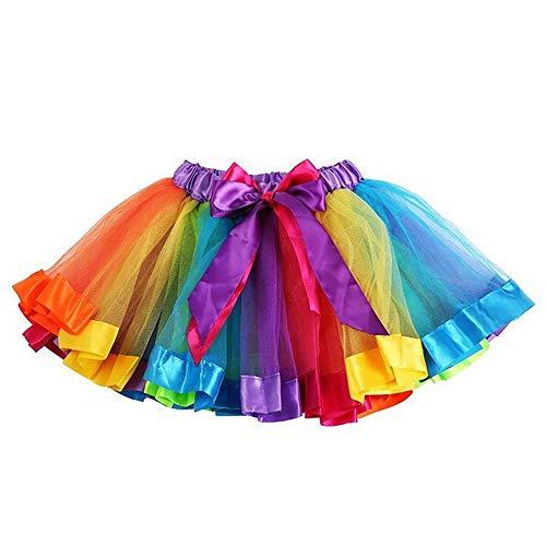 TopTie - Tutù da ragazza, gonna da ballo/danza con vari volant multistrato nei colori dell'arcobaleno