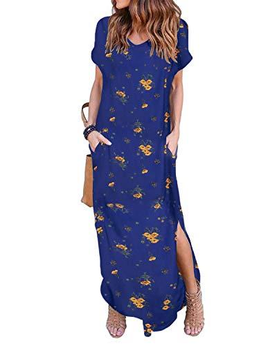 ZANZEA Damen Kleid Kurzarm Sommerkleid Rückenfrei T-Shirt Lange Kleider Sexy Freizeitkleid Blau&Gelb L