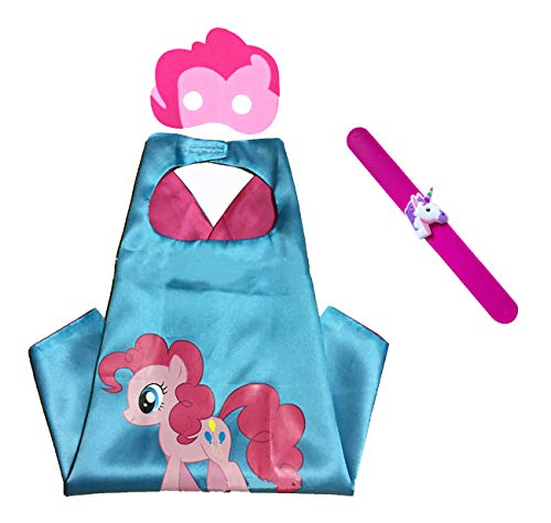 Raclove My Little Pony Costume Set—Cape, Mask and Pops Ring. For Age 4-10 Kids Boys and Girls. Wonderful Dressing up Gifts for Halloween Birthday Party Superhero Day and Play Day (Pinkie Pie)