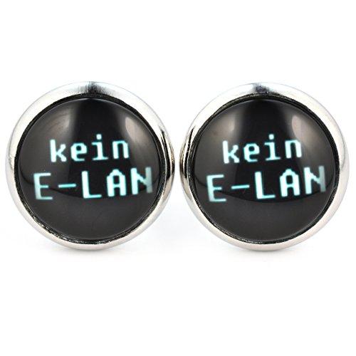 SCHMUCKZUCKER Damen Ohrstecker Spruch Kein E-Lan Modeschmuck Ohrringe silber-farben schwarz 14mm