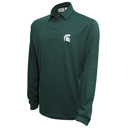 NCAA Michigan State Spartans Men's Campus Specialties Long Sleeve Polo Shirt, Heather Green, X-Large