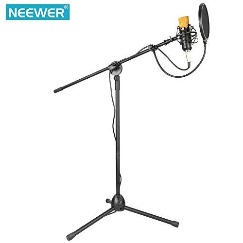 Neewer Professional Estudio de Radiodifusión / Grabación NW-700 Micrófono de Condensador y NW-107 Tipo Plegable Altura Micrófono Ajustable Kit de Soporte de Suelo para Trípode