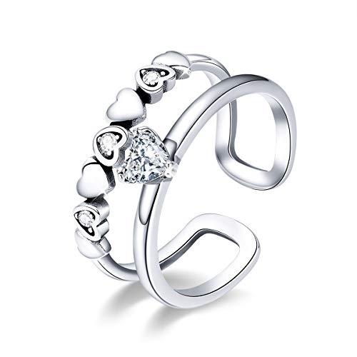 Anelli Knuckle Promise regolabili con zirconi cubici cuore a cuore in argento sterling 925 Regalo per donne Ragazze