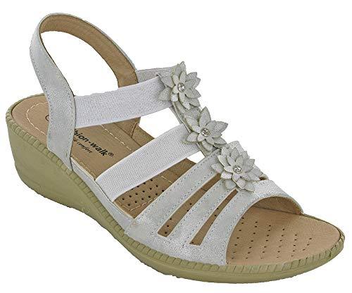 Cushion-Walk Womens Slingback High Wedge Sandals Lightweight UK 3-8 (UK 5 / EU 38, Silver)