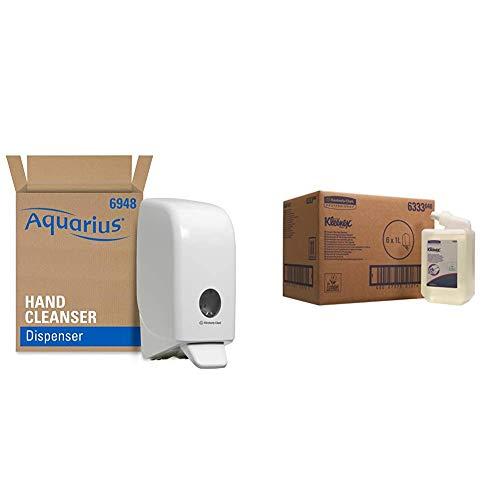 Aquarius Seifen-Spender 6948 – 1x wandmontierter Seifenspender für Handseife + Kleenex Seife 6333 - Handreiniger für die häufige Verwendung