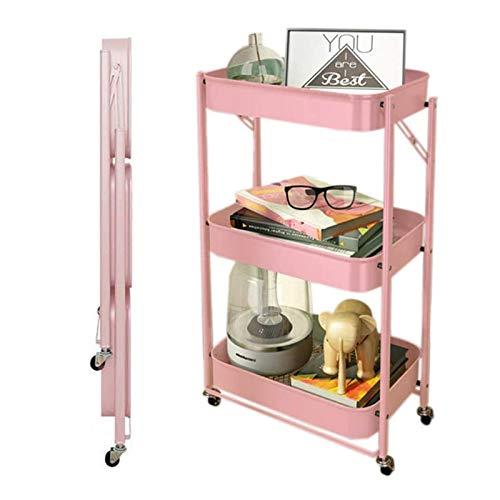 ZYFang 3 Niveles Carrito Cocina, Plegable Fruteros de Cocina Metal Mueble Auxiliar Cocina con 360°Ruedas para Cuarto baño Sala Balcón (Color : Pink, Size : 17.7 * 11.6 * 30.3in)