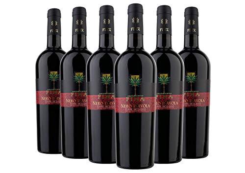 Sicilia DOC 2018 - Nero d'Avola - Cantine Fina - 6 fl. x 0,75 l. - Italienischer Rotwein - Sizilien - Italien