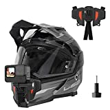 TELESIN Upgraded Motorcycle Helmet Chin Mount for GoPro Max Hero 9 8 7 6 5 Insta 360 One R One X DJI Osmo Action Pocket Cellphone and More Action Camera, with Go Pro Mount Adapter Screw Accessories