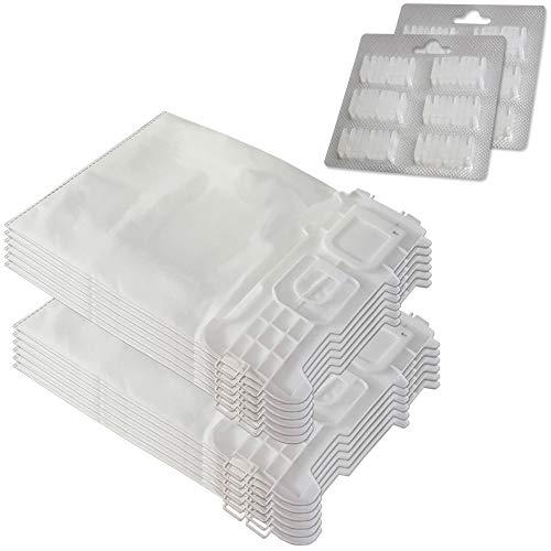 Juego de 12 bolsas de aspiradora de microfibra + 12 ambientadores para Folletto Vorwerk Kobold 135, 136, 135 SC, VK 135, VK 136, VK135, VK136, FP135, FP136 – con cierre higiénico