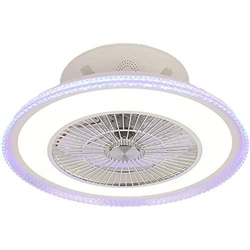 Ventilador de techo industrial con luces Ventilador de techo Iluminación y altavoz Bluetooth Ventilador de techo silencioso Control remoto Lámpara de ventilador de velocidad de viento ajustable LED re