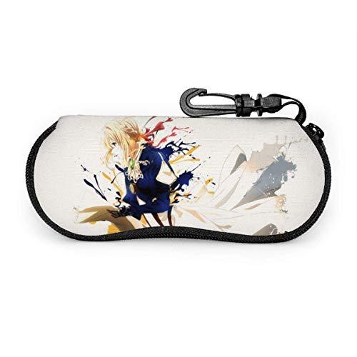 Funda para gafas Evergarden de color violeta con cierre de neopreno, ultra suave, ligero, con cremallera, para colgar