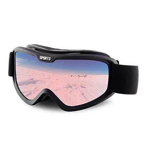 OULIQI Skibrille,Damen und Herren Snowboardbrille OTG UV-Schutz Anti Fog Skibrillen für Outdoor Aktivitäten Skifahren,Wintersportarten, Skaten (Black/Pink Lens-VLT 73.5%)