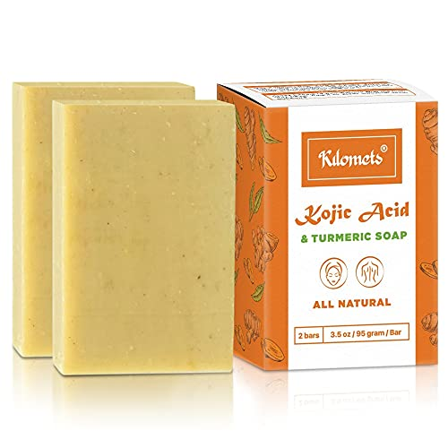 Kilomets Kojic Acid & Tumeric Bar Soap 95gram 2 Bars | Dark Spots Helps Even Skin Tone – 100% Natural Vegan Ingredients