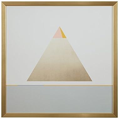 Rivet Modern Gold Pyramid Triangle Print, 12  x 12 , Gold Frame