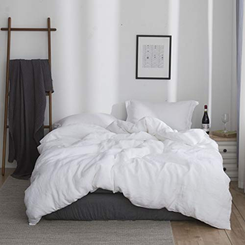 Simple&Opulence 100% Washed Linen Duvet Cover Set 3pcs Basic Style Natural French Flax Solid Color Bedding with Button Closure (Queen, White)