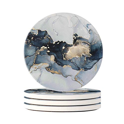 HAOCOO 4 Stück Runden Getränk Untersetzer - Saugfähiger Stein Untersetzer Set mit Korkboden und Keramik Stein, Dekorativ Untersetzer für Arten von Bechern und Tassen (Grauer Marmor)