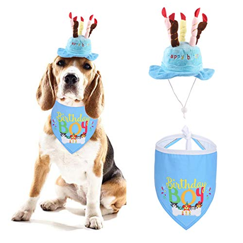 Dog Birthday Bandana Hat, 2pcs Cute Dog Birthday Candles Cake Hat with Triangle Bib Scarf for Girls Boys,Happy Birthday Boy Print Outfit for Your Lovely Dog Puppy Pet Birthday Supplies