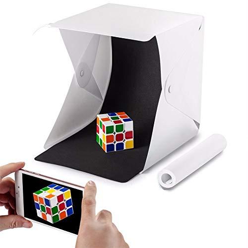 ZXYWW Caja portátil para Estudio fotográfico, Carpa fotográfica para artículos pequeños y joyería con 20 Piezas de luz LED, Kit de Caja de Carpa de Tiro para Estudio de iluminación