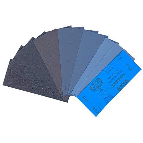 12 Blatt Schleifpapier Sortiment 230 x 91 mm |Made in Germany| P60 P100 P220 P360 P500 P1000 |Wasserfest Nass & Trocken| Sandpapier SET Schmirgelpapier