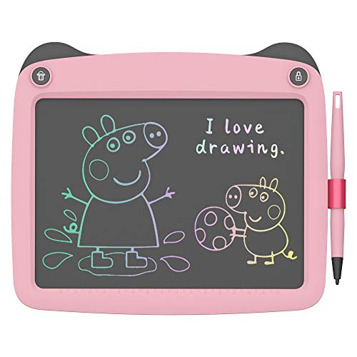 FLUESTON LCD Writing Board 9 Inch Drawing Tablet for Kids, e-Writer Doodle Board and Colorful Screen Scribble pad for Kids Ages 3+ (Pink)