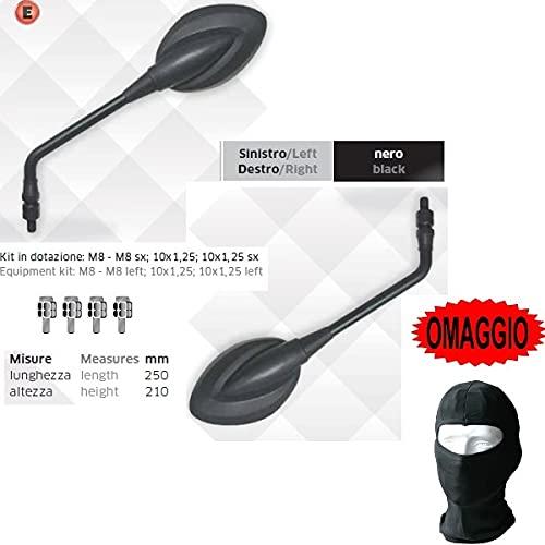 Compatible con Husqvarna WR 300 Espejos Manillar Moto Far Black Espejos UNIVERSALES APROBADOS 5603+5603 Espejos RETROVISORES+Kit DE Montaje M.8 10X1.25