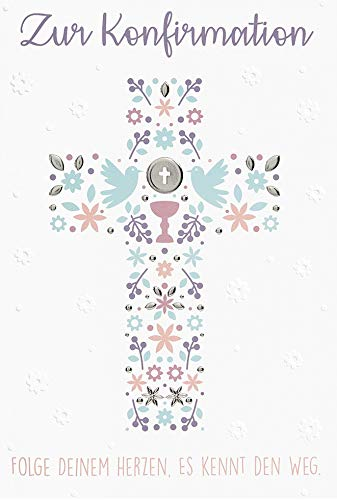 Karte zur Konfirmation Basic Classic - Kreuz - 11,6 x 16,6 cm