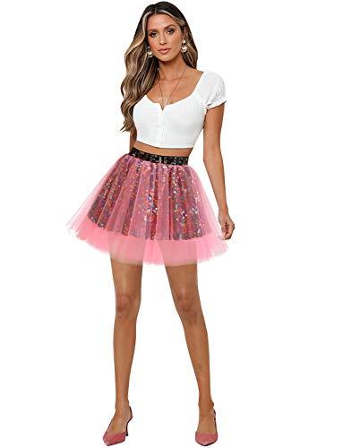 Aupuls Tutú básico para mujer, falda de tul, con lentejuelas, disfraz de niña, coral, XL