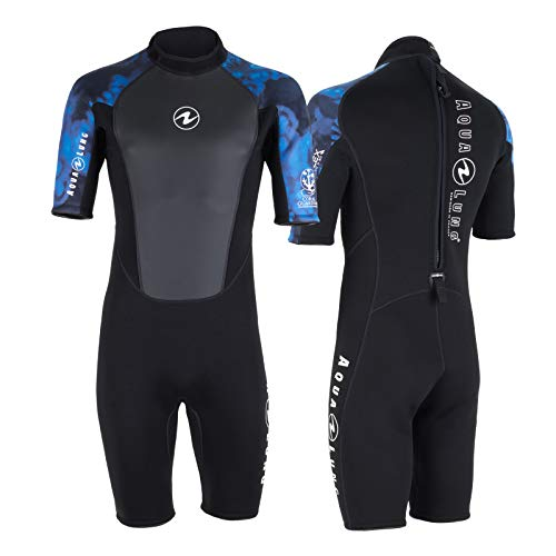 Aqua Lung Hydroflex - Pantalón corto para hombre (talla XL), color negro y azul