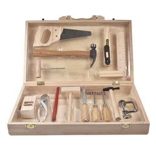 circulor 16 Pcs Werkzeugkoffer Kinder Echtes Werkzeug, Kinder Instandhaltungs-Management-Toolbox Spielzeug, Box Abnehmbare Multifunktions-Holzbearbeitung Geeignet Ab 6 Jahren