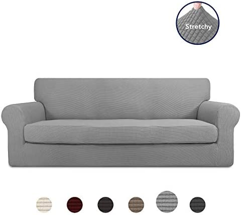 Best PureFit 2 Pieces Stretch Slipcover for 3 Cushion Couch – Spandex Non-Slip Soft Fitted Sofa Couch C