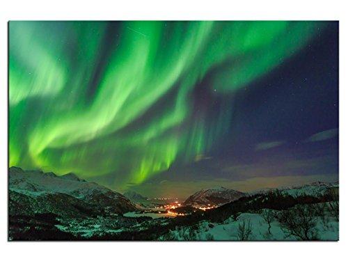 kunst-discounter A05378 - Quadro su Tela, Motivo: luci polari in Norvegia, 90 x 60 cm