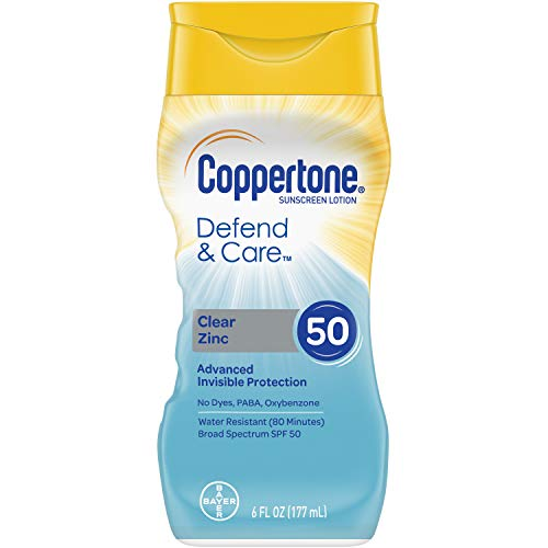 Coppertone Defend & Care Clear Zinc Sunscreen Lotion Broad Spectrum SPF 50 (6 Fluid Ounce) (Packaging may vary)