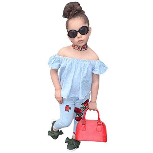 Kolylong® 1 Set (2-7 Jahre alt) Kinder Baby Mädchen Sommer niedlich gedruckt Outfits Kleidung (Tops+ Hosen) Sommerkleidung Mädchen Kleidung Set (140CM (6-7 Jahre alt), Blau)