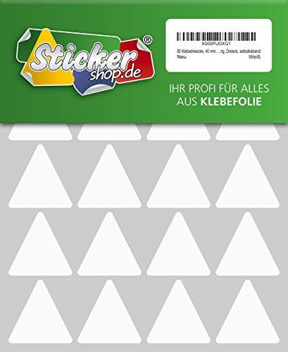 80 Aufkleber, Dreieck, Sticker, 40 mm, weiß, PVC, Folie, Vinyl, glänzend, Klebemarkierung, selbstklebend