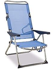 Solenny 50001072720118 - Silla Playera-Cama Alta 4 Posiciones con Asas con Estabilizadores Azul