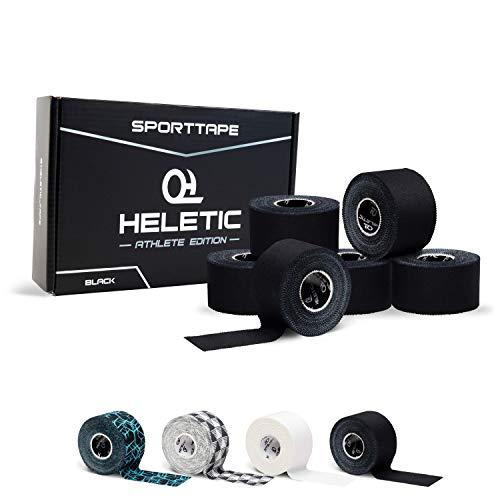 HELETIC Sporttape 3,8cm x 10m Athlete Edition - Tape mit extra starker Klebkraft, leicht abreißbar & wasserabweisend (Black (6 Rollen))
