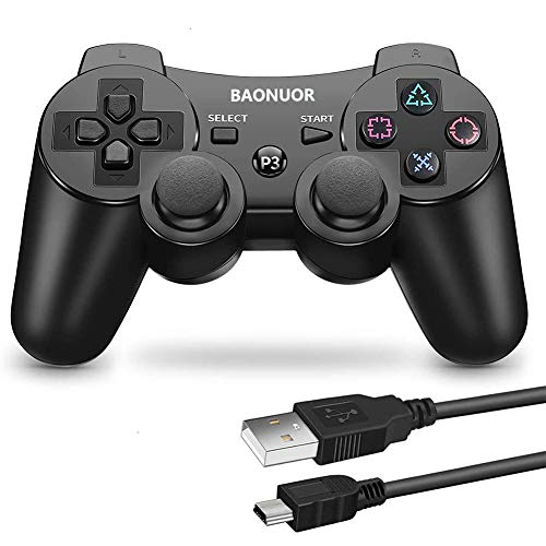 BAONUOR Wireless Controller für PS3, Bluetooth Gamepad mit Dual-Vibration 6-Achsen Rechargable Remote Controller/Gamepad für Playstation 3