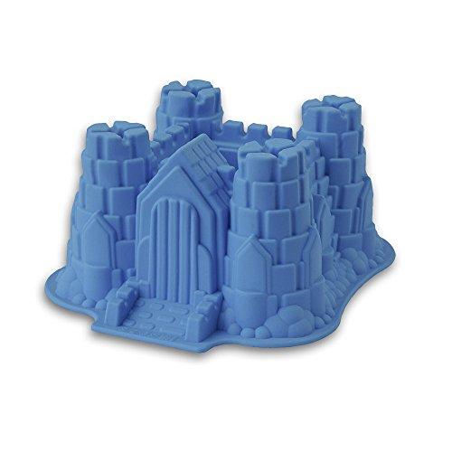 Silikon-Form, Modell: Ritterburg/Schloss, geeignet zum Backen von Kuchen und Torten sowie zur Zubereitung von EIS oder Götterspeise. Eine tolle Überraschung für Partys und Geburtstage (blau)