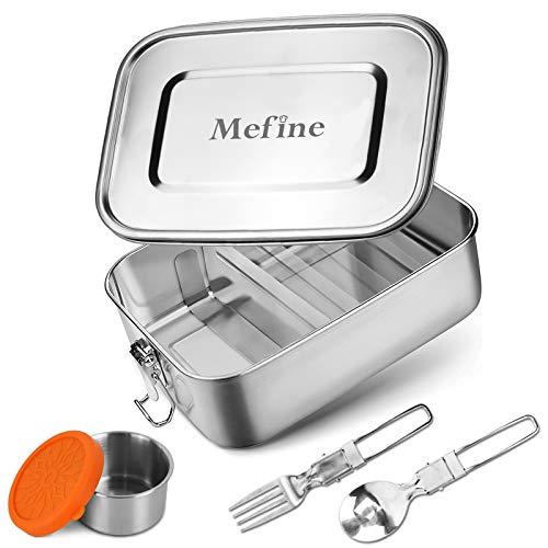 Mefine Edelstahl Brotdose, 1400ml Auslaufsicher Lunchbox Set mit Trennwand & Metalldose 110ml, Plastikfrei Bento Box groß, BPA-frei Brotbox Eco Frühstücksbox Edelstahl für Erwachsene