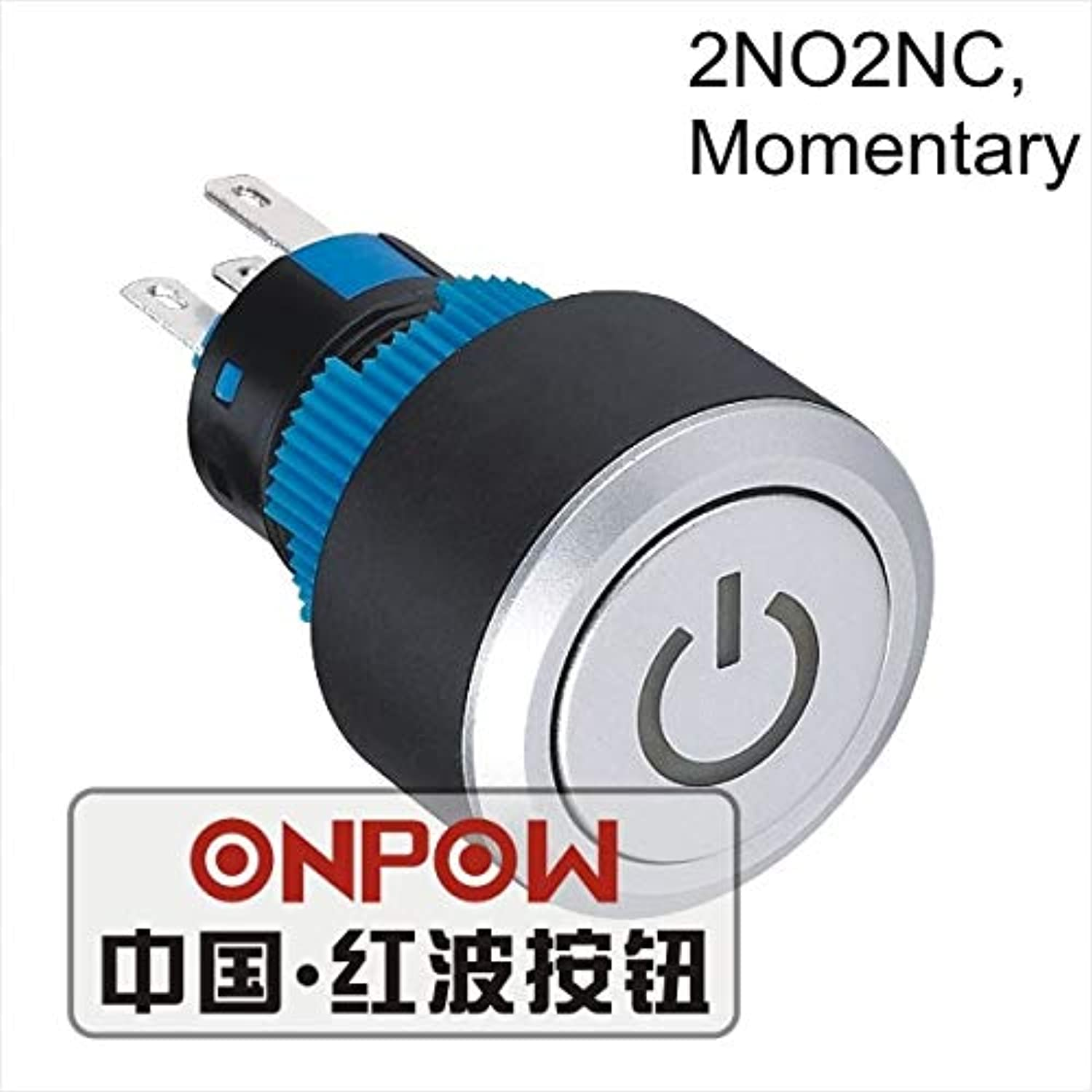 22mm Momentary 2NO2NC Round LED Illuminated Power Symbol Plastic Push Button Switch (LAS1AWY22T B 12V) CE, UL, ROHS  (color  Yellow, Voltage  6V)