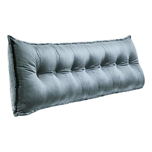 VERCART Lounge Rückenkissen Gepolstert Kopfteil Lesekissen Groß Sofa Kissen Rückenlehnen Kopfkissen Bett Keilkissen mit Abnehmbarem Bezug Samt Grau 200cm