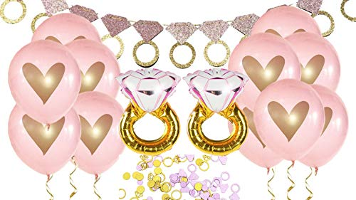 Pink Gold Diamond Ring Glitter Banner Bridal Shower Bachelorette Party Engagement Decorations Miss to Mrs Garland Heart Mylar Giant Balloons Table Confetti Wedding Photo Prop Kit