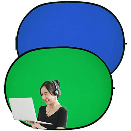 Collapsible Portable Green Screen Backdrop, 2 in 1 Pop Up Green/Blue Reversible Chromakey Background for Photography Video Photo (39×59in)
