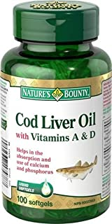 Nature's Bounty Cod Liver Oil with Vitamin A & D, 100 Capsules